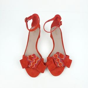 DVF Red Suede Embroidered Bow Heeled Sandals